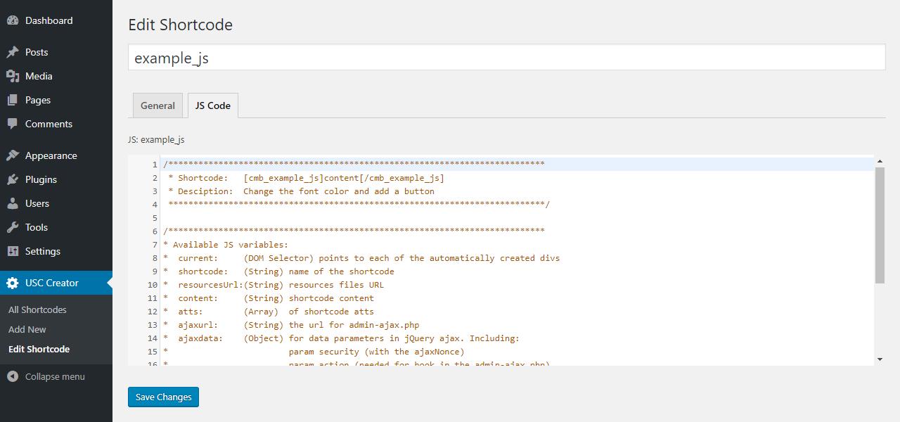 JS edition tab.