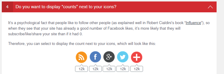 <p>You can choose to display counts next to your social share icons (e.g. number of Twitter-followers)</p>
