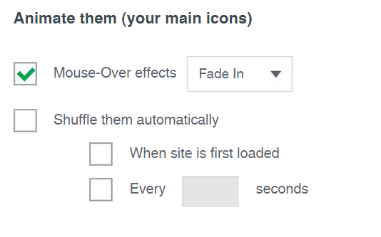 <p>Here you can animate your main icons (automatic shuffling, mouse-over effects etc.), to make visitors of your site aware that they can share, follow & like your site</p>