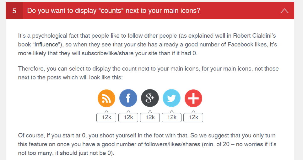 <p>You can choose to display counts next to your icons (e.g. number of Twitter-followers)</p>