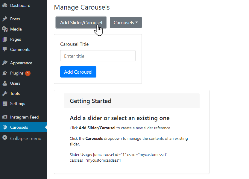 Add a new carousel reference by clicking Add Slider/Carousel
