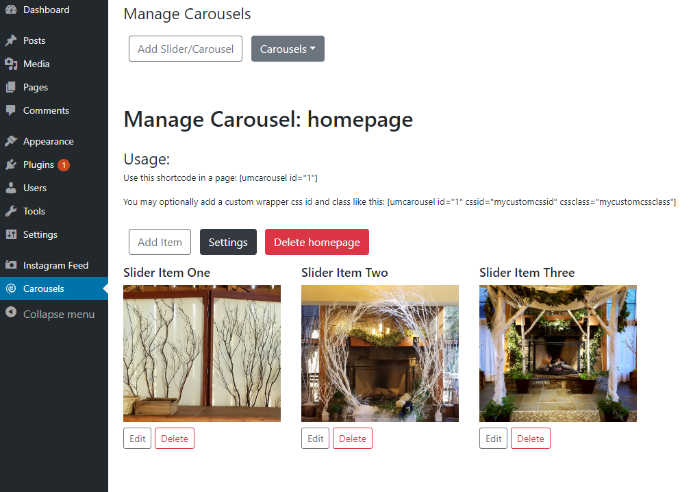 View a carousel reference by clicking the Carousels dropdown and selecting it