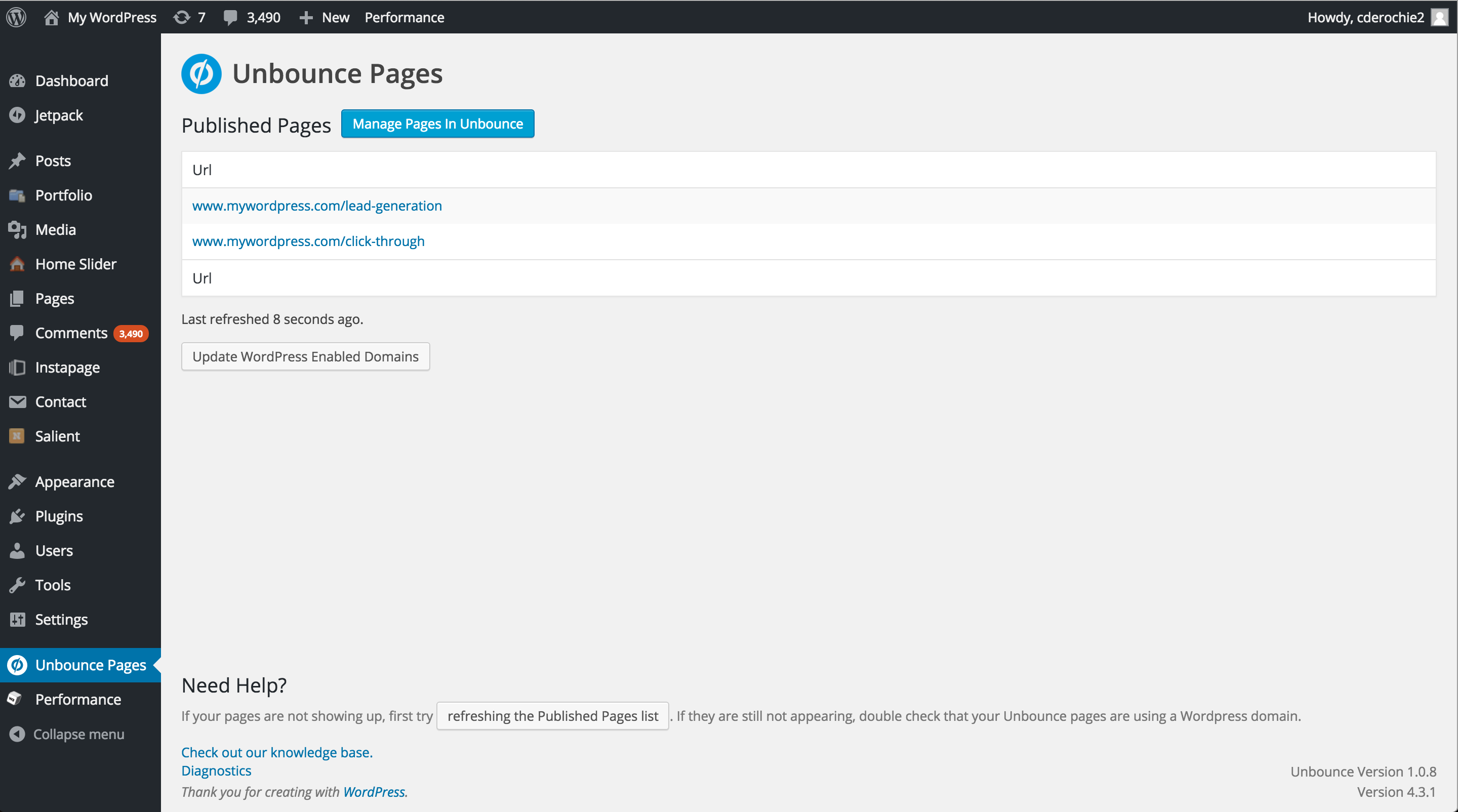 View all of your WordPress landing pages in the plugin's interface and easily manage them in Unbounce.