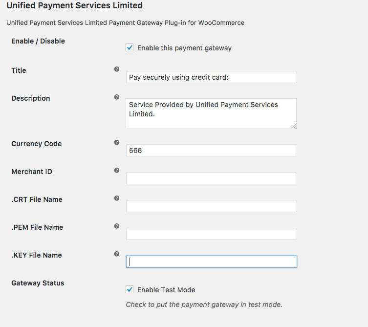 Unified Payment Services Limited – WooCommerce Gateway