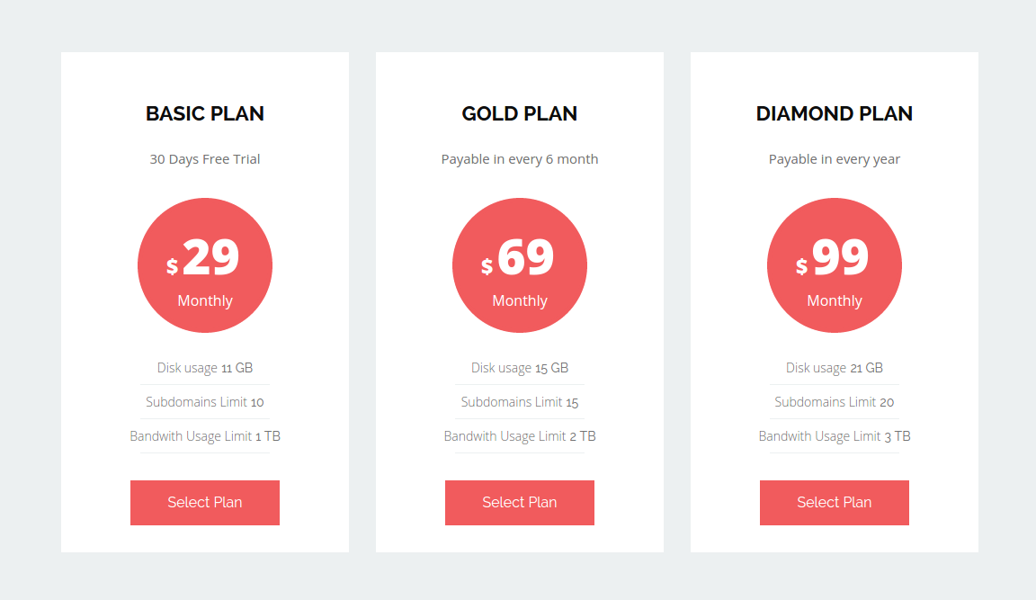 Design Output of Unik Pricing Table