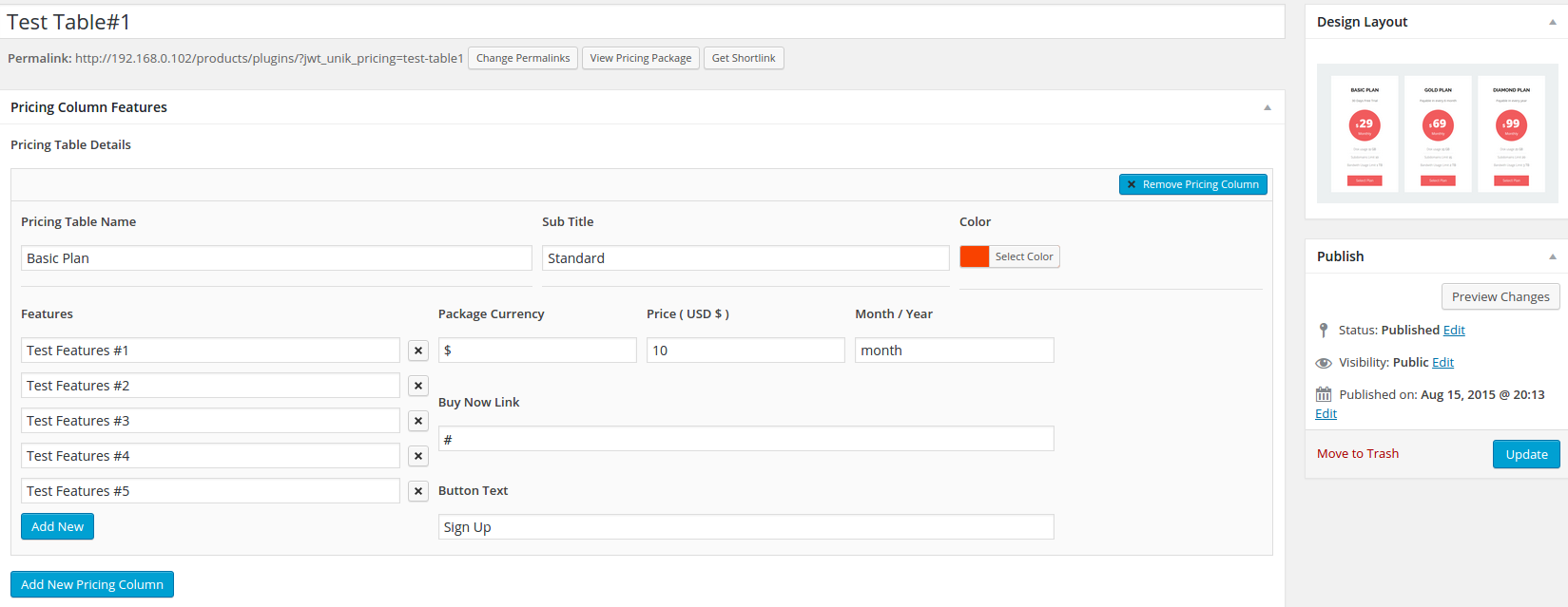 Backend Configuration of Unik Pricing table