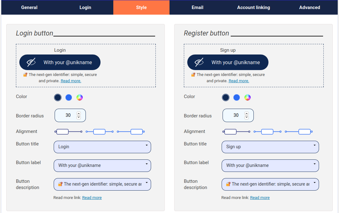 Style options: UI configuration (colours, labels ...) of the Unikname Connect buttons