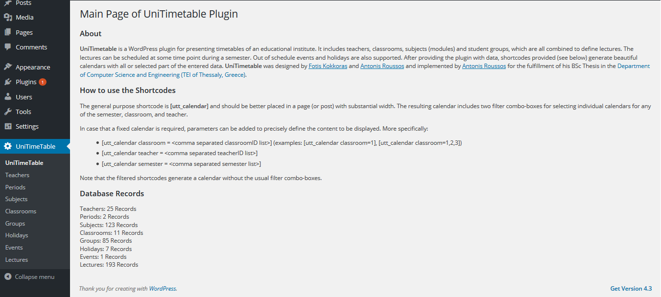 The main admin page of the plugin.