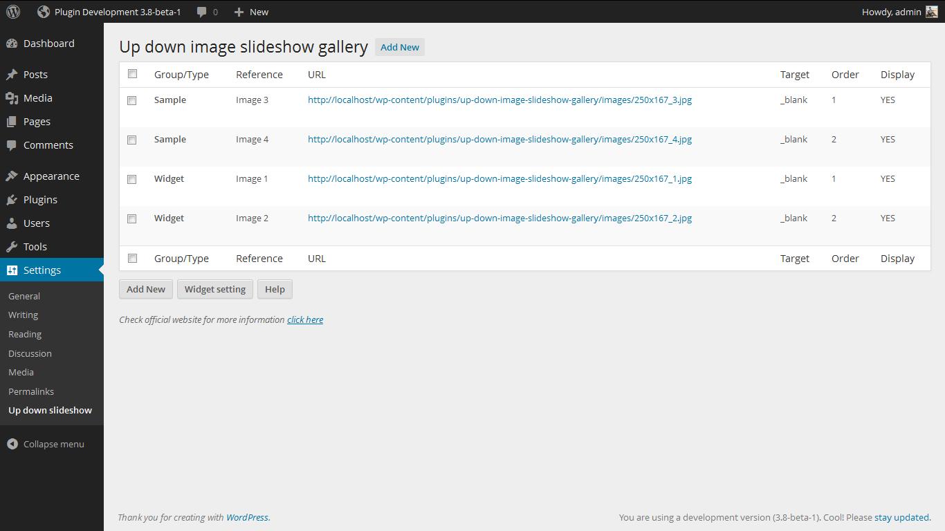<p>Admin Page. http://www.gopiplus.com/work/2011/04/25/wordpress-plugin-up-down-image-slideshow-script/</p>
