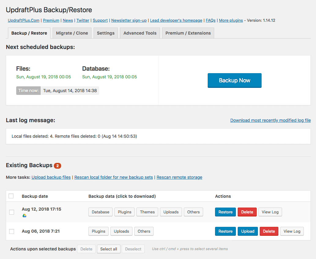 UpdraftPlus WordPress Backup Plugin Screenshot