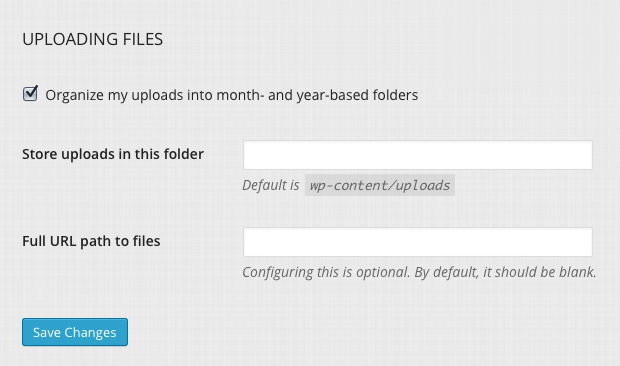 The medias settings page.