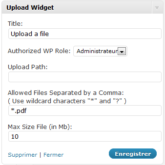 Showing the upload widget screen in the admin area