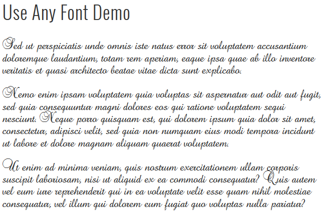 Screenshot #1. Use Any Font Demo