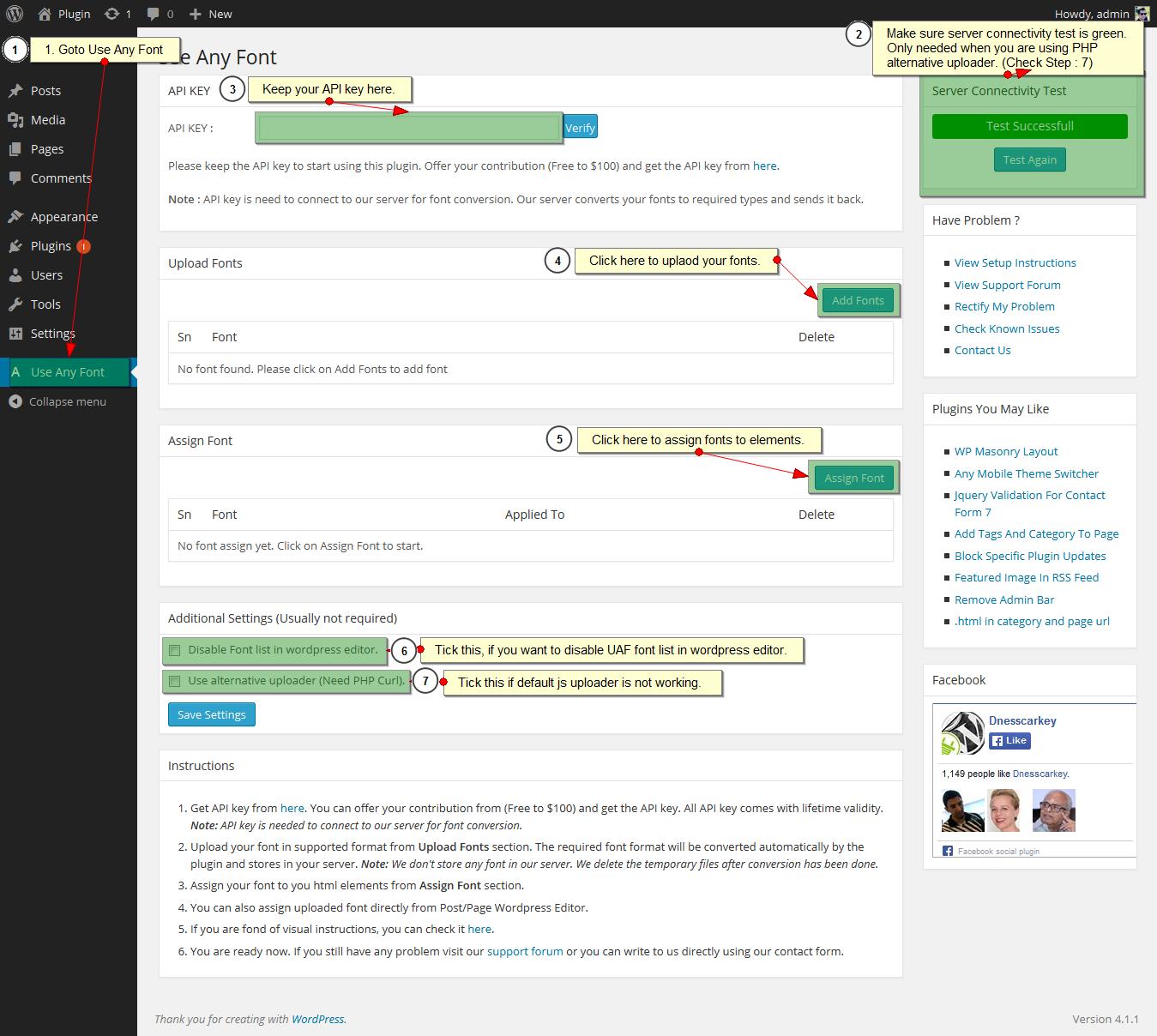 Screenshot #2. Use Any Font Plugin Setup