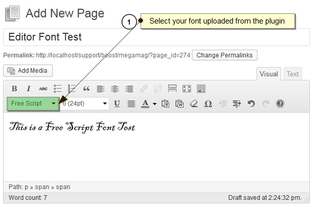 Screenshot #3. Assign font directly from Wordpress Editor