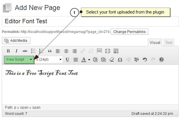 Screenshot #3. Assign font directly from Wordpress Editor