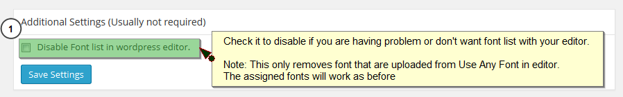 Screenshot #5. Disable font list in editor.