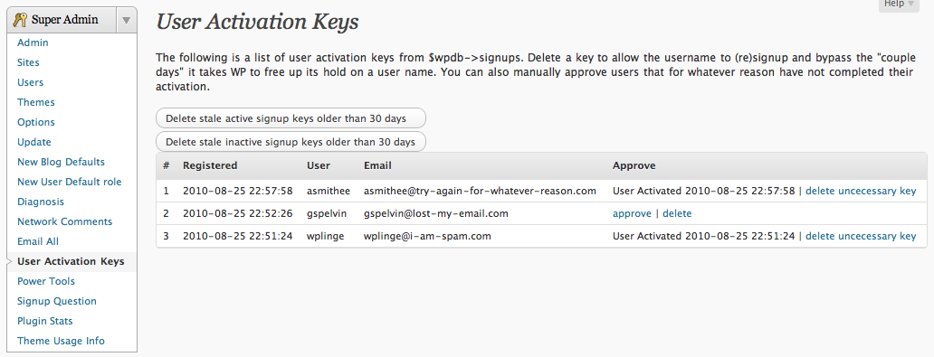 "Network Admin->Users->""User Activation Keys"" page"