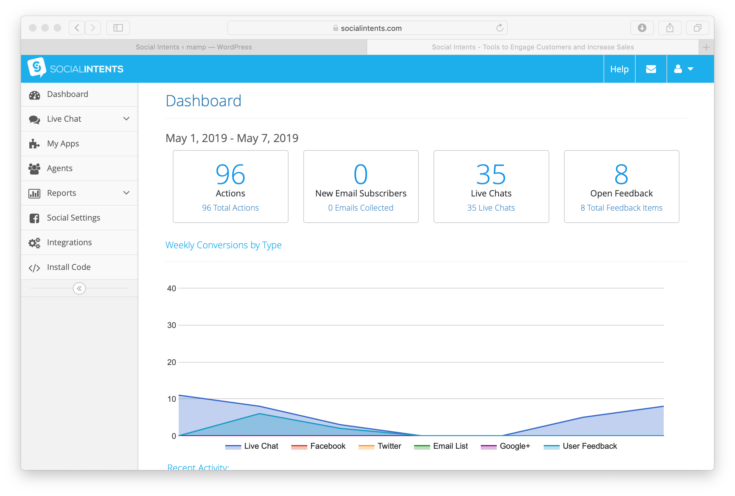 Social Intents Dashboard