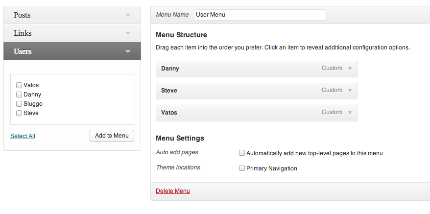user-links-for-wp-menus screenshot 1