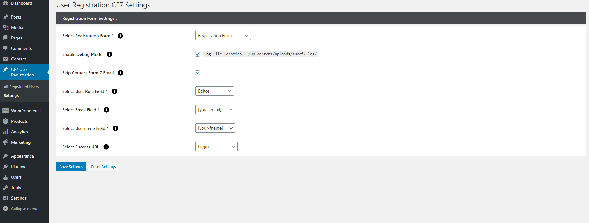 Show all the possible options in plugin settings.