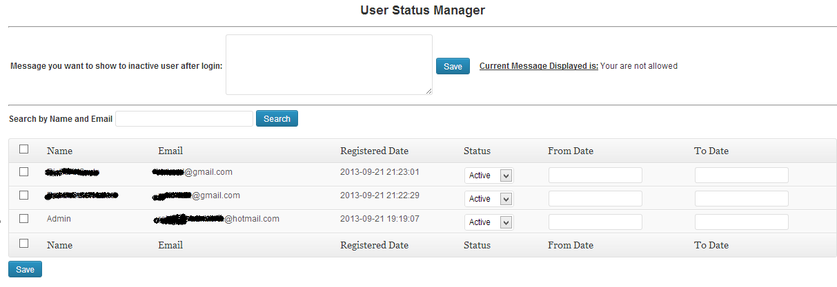 User Status Management.