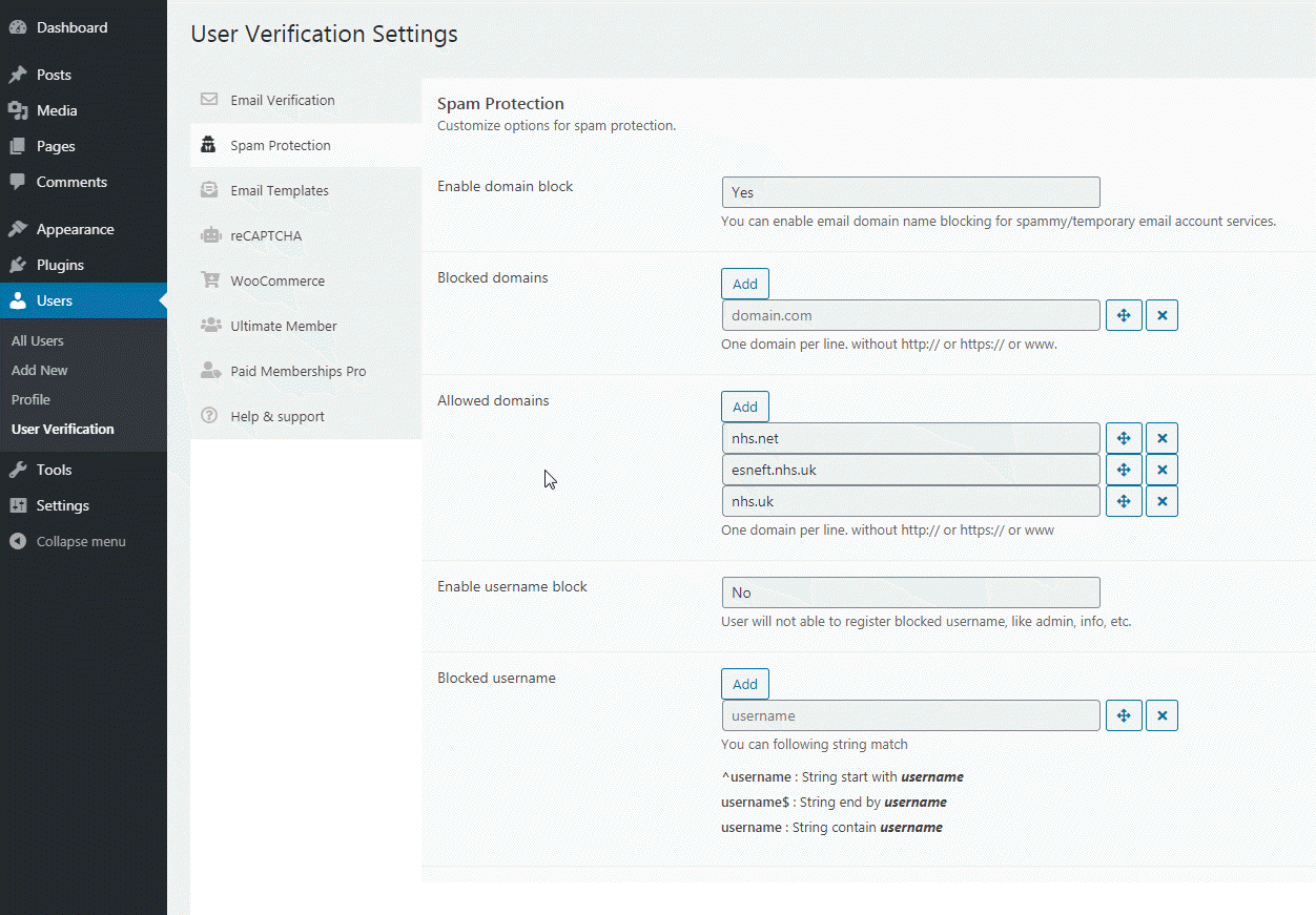 User Verification – WordPress plugin | WordPress org