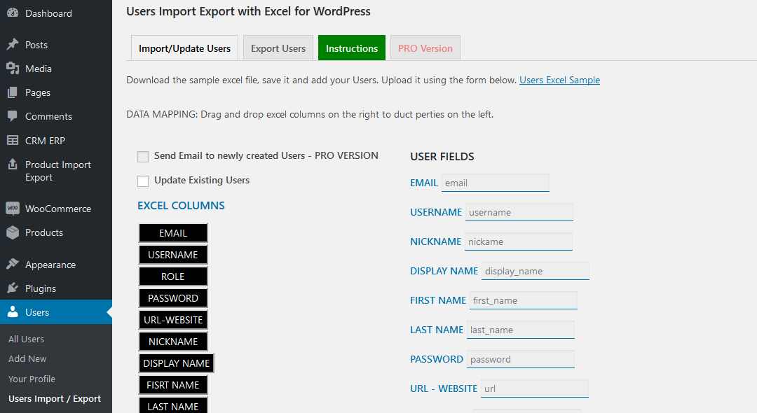 Users Import Export with Excel for WordPress data mapping