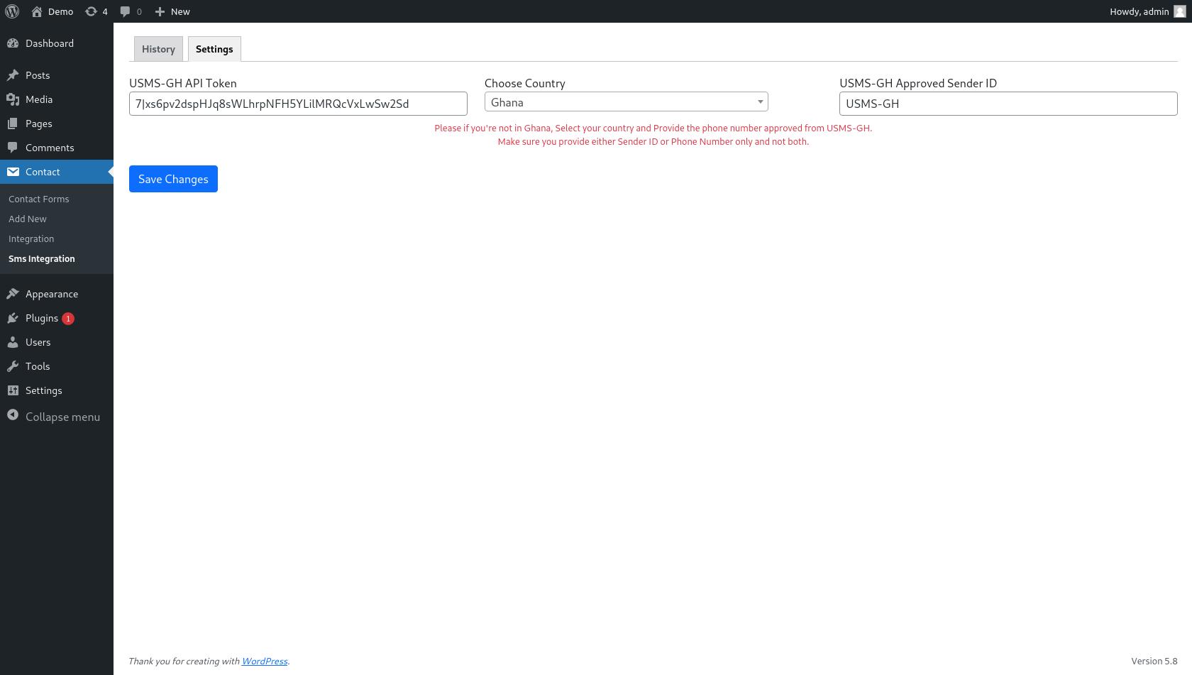 USMS-GH API Settings.