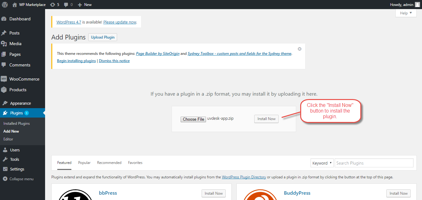 This screen shot description corresponds to 4.png. and it shows to install button which on clicks install the plugin.