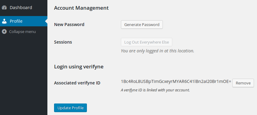 Connect your profile with a verifyne identity