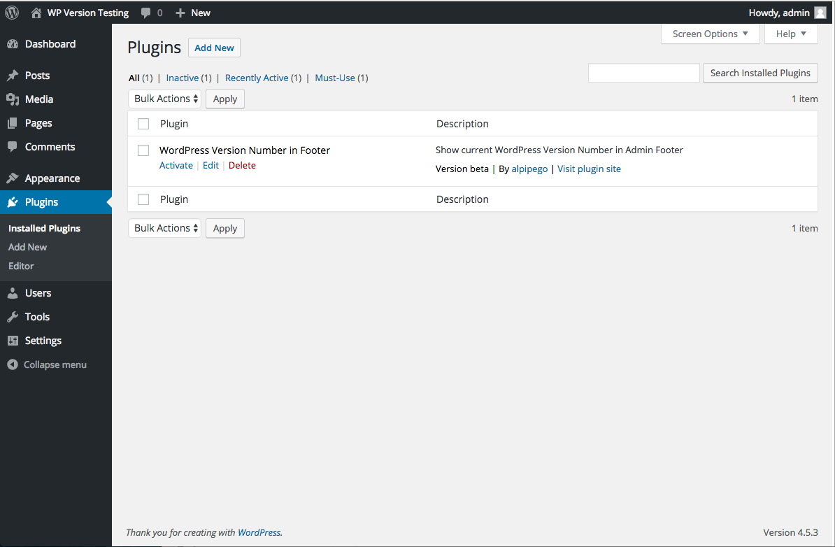 Default admin footer showing you the current (latest) Wordpress version