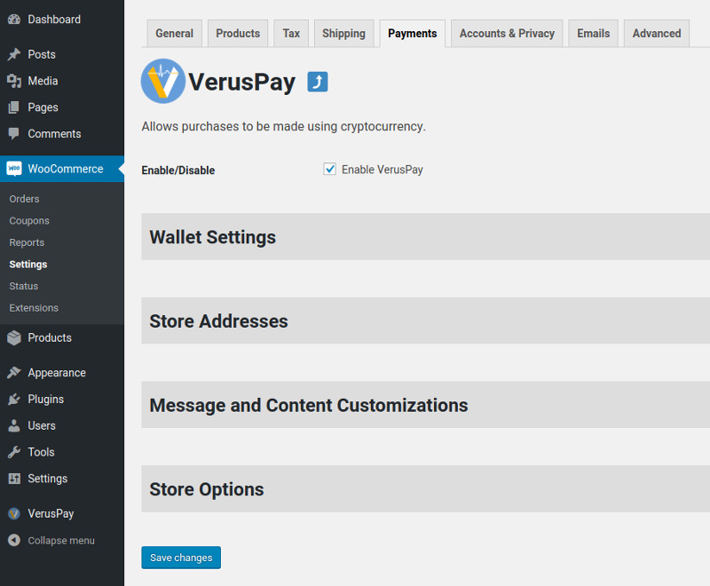 """This is the main settings area for VerusPay within WooCommerce's """"Settings->Payments"""" section. Each of the headings expand upon clicking."""