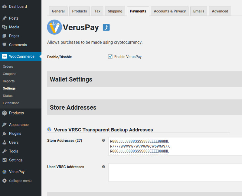 """Store owners input VRSC transparent addresses in the """"Store VRSC Addresses"""" text field which are used when the store is in manual mode, either by the store owner's choice or as a fallback if there is any issue in connecting with the blockchain."""