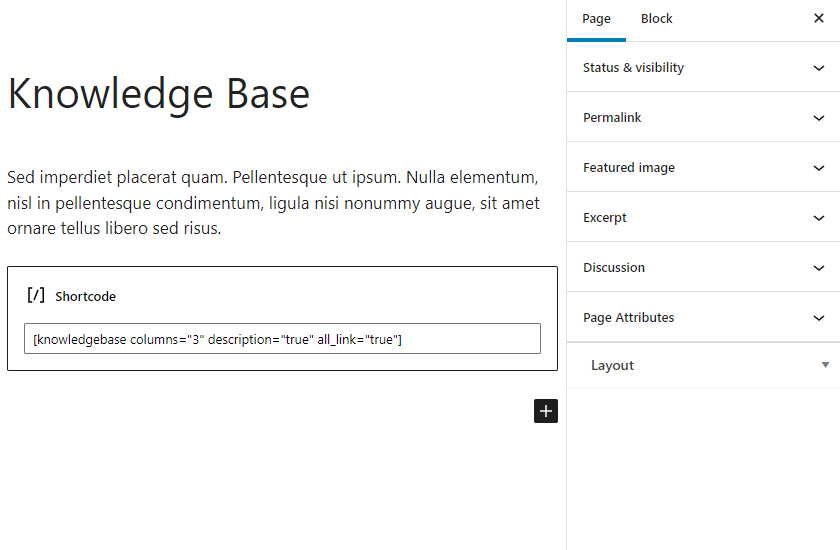Very Simple Knowledge Base page (Dashboard).