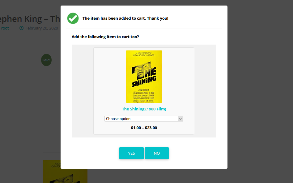 Popup showing one single upsell product, using the default template.