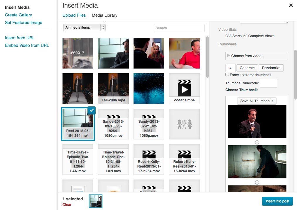 Thumbnails in the Add Media modal.