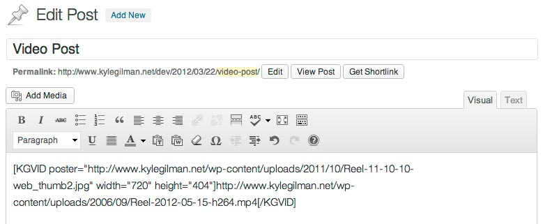 Shortcode inserted into the post content by the plugin.