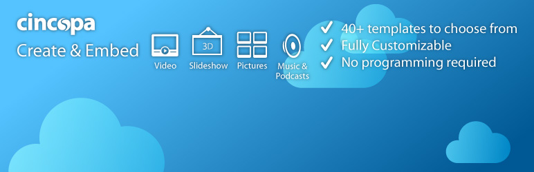 Post video players, slideshow albums, photo galleries and music / podcast playlist