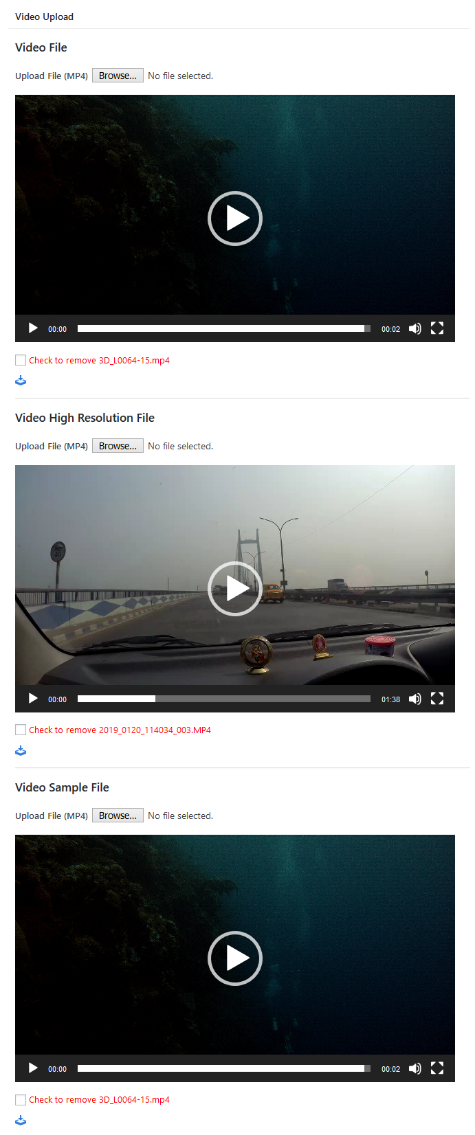 Video add / edit page.