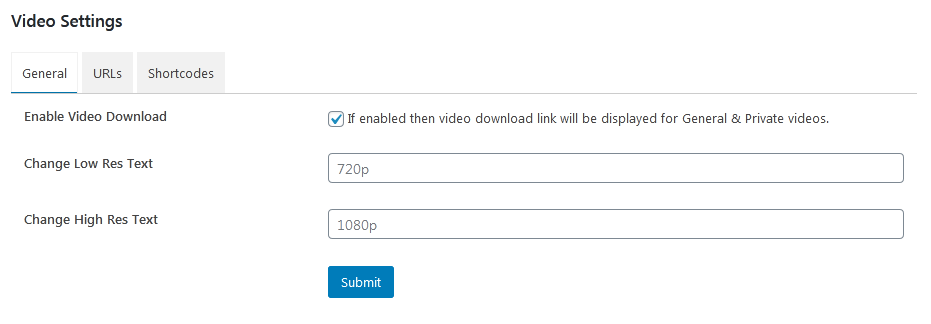 Video settings page