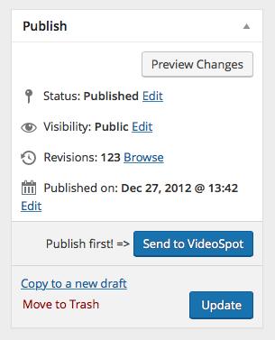 The VideoSpot App Publisher button