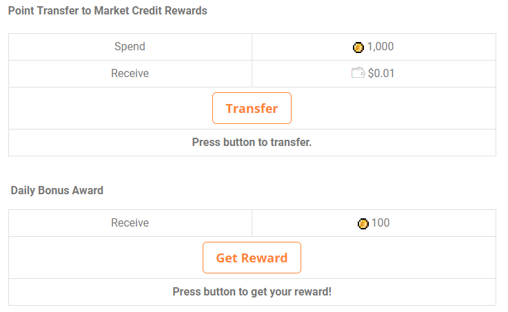 Using the point transfer shortcodes, users can exchange points at various rates to other points or WooCommerce credit. Also timed rewards buttons!