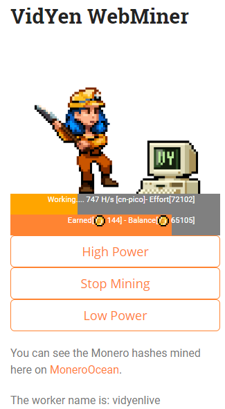 Using the VidYen Webminer shortcode, you can avoid adblockers while still having users consent to mining for points.