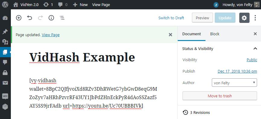 Shortcode example