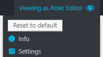Admin bar when a view is selected + the reset button location