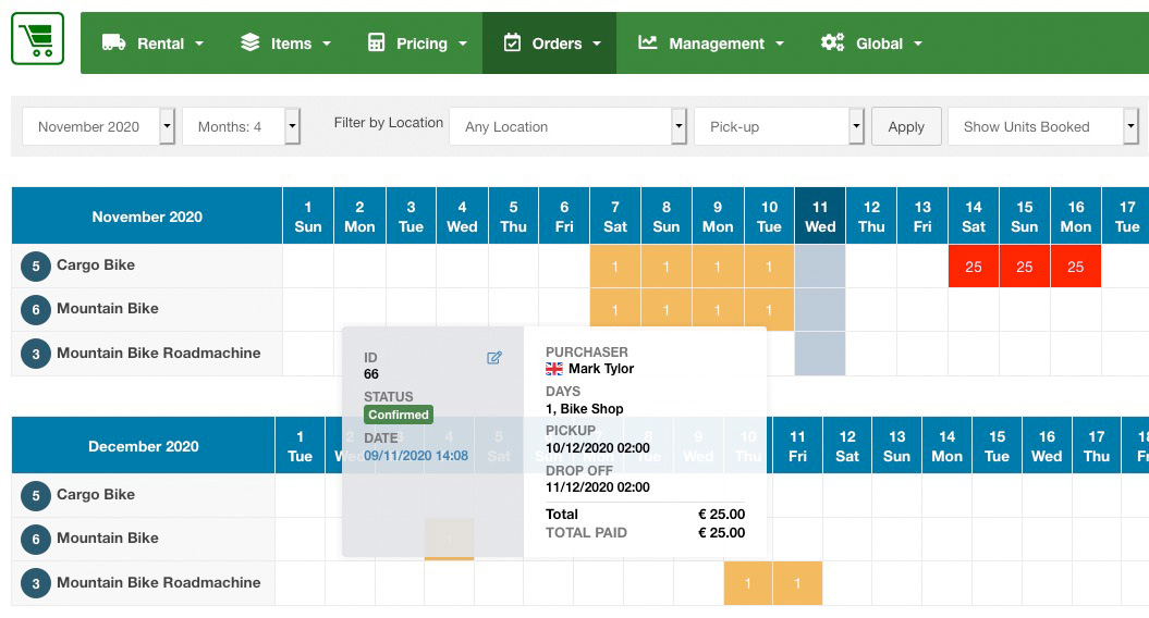 Availability Overview: all rental orders will build the availability calendars for all items.