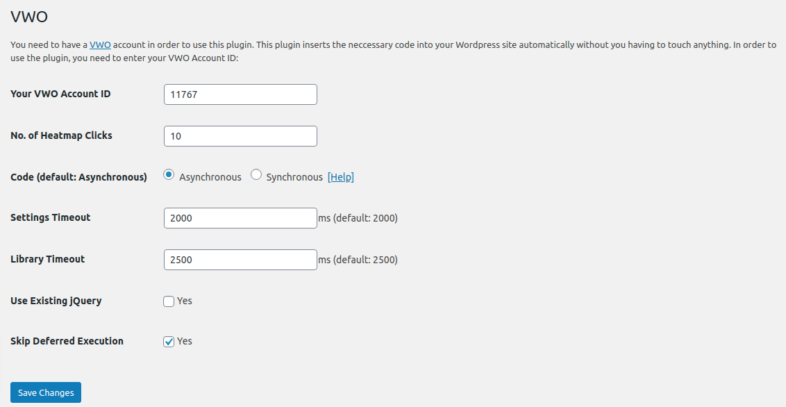 Settings page (Asynchronous Code)