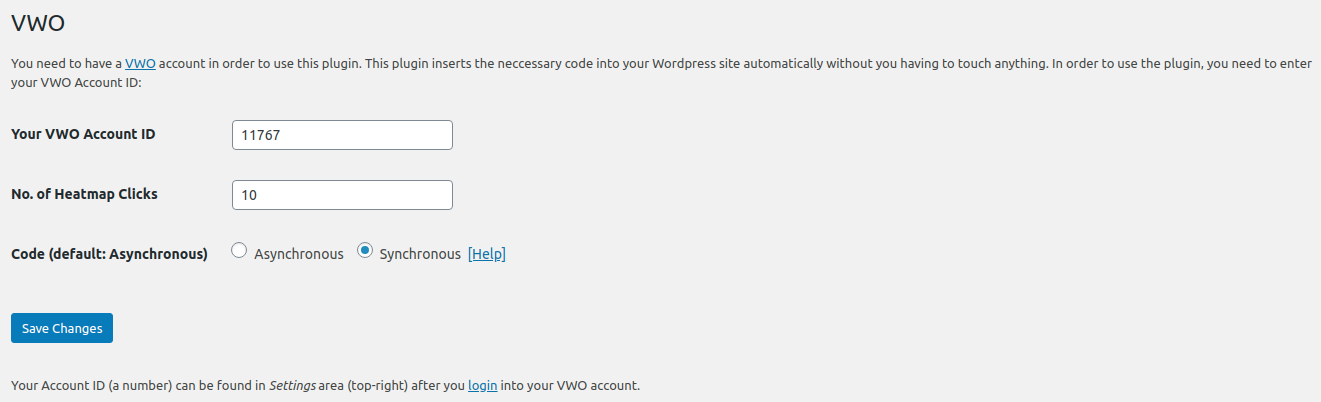 Settings page (Synchronous Code)