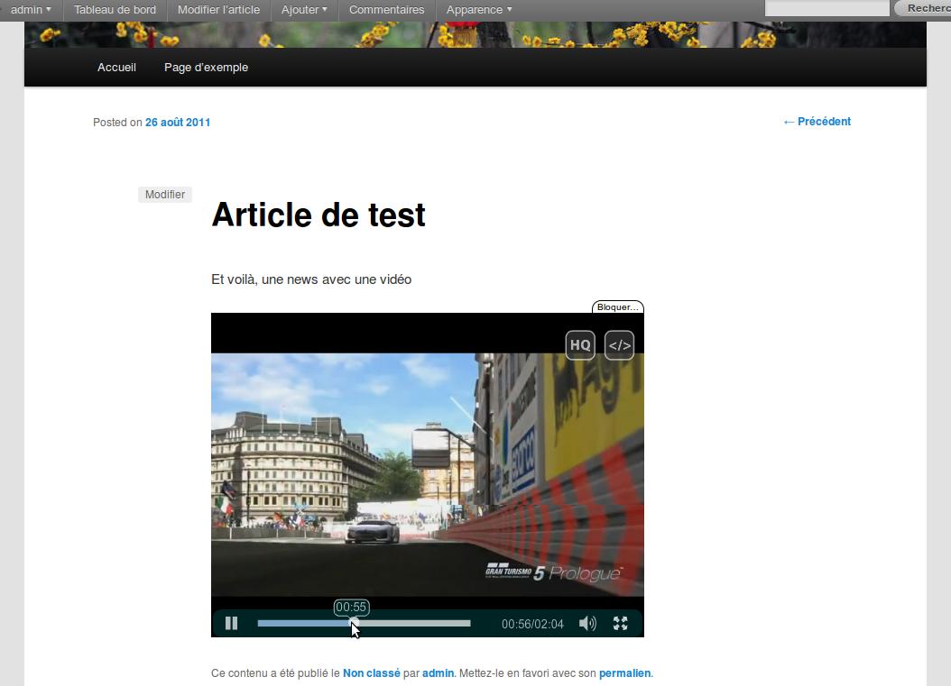 Article créer à l'aide du plugin et dans lequel on peut retrouver une vidéo.